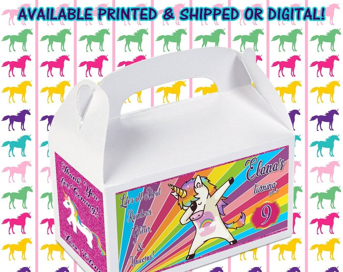 Dabbing Unicorn Favor Box - Custom Gable Box - Dabbing Unicorn - Dabbing Unicorn Labels - Dabbing Unicorn Gable Box - Printed - Digital