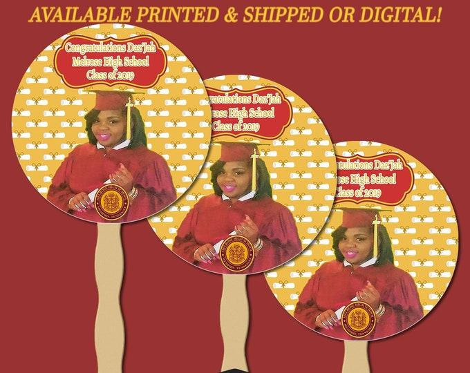 Graduation Circle Fans - Double Sided Fan - Announcement - Graduation Favors - Banner - Decorations - Party Printable