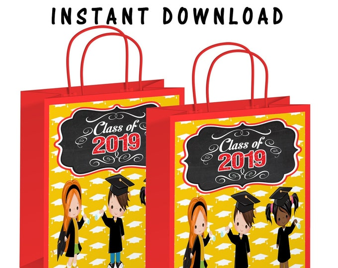 Kids Graduation Gift Bag Label - INSTANT DIGITAL DOWNLOAD - File Cannot Customized - File Not Editable - Kids Graduation - Digital