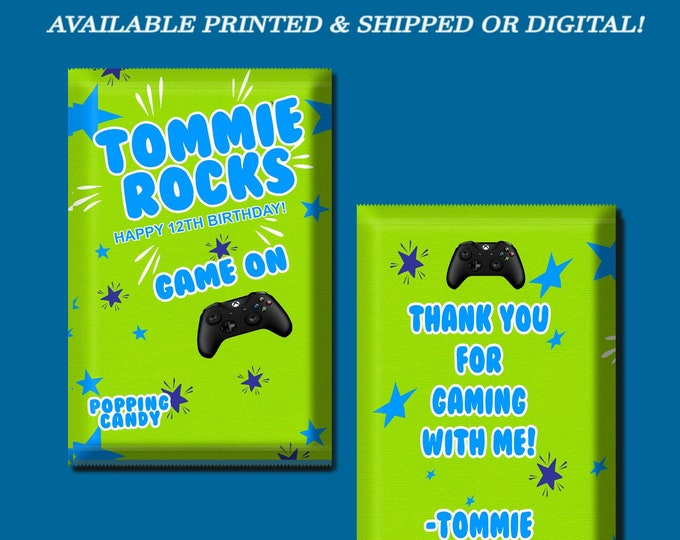 Game On Pop Rock Wrapper - Custom Party Favor - Game On - Xbox - Custom Candy Favors - Pop Rocks - Gamer- Digital- Party Printables- Printed
