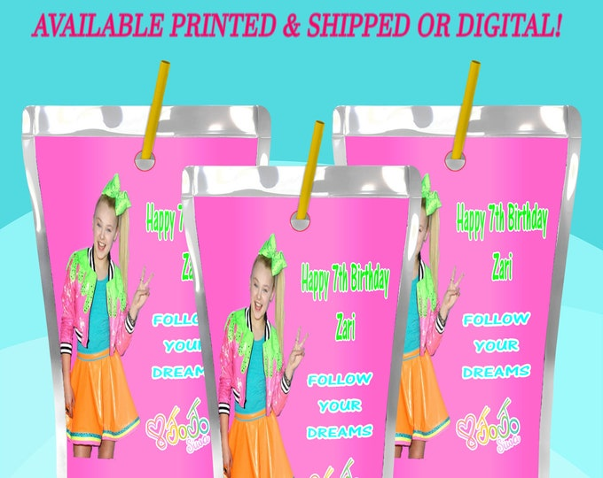 JoJo Juice Pouch Label - JoJo Capri Sun Labels - JoJo  - JoJo Label - Party Favor - Digital - Printed - Party Printables