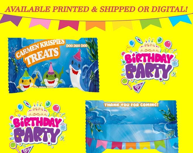 Shark Rice Krispy Treat Wrapper - Shark Party - Shark - Rice Krispy Treat Wrapper - Digital - Baby Shark Party Favor - Party Printable