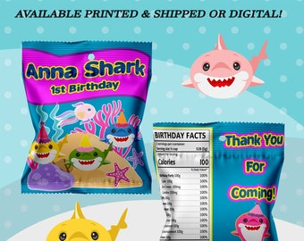 Shark Fruit Snack Bag - Fruit Snack Wrappers - Baby Shark Party Favor - Shark - Shark Favor Bag - Shark Birthday - Digital - Party Printable