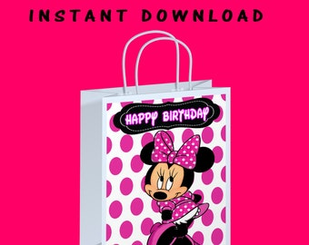 Minnie Mouse Gift Bag Label - INSTANT DIGITAL DOWNLOAD - File Cannot Be Customized - File Not Editable - White Pink Dots - Printed - Digital