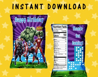 Avengers Chip Bag - INSTANT DIGITAL DOWNLOAD - File Cannot Be Customized - File Not Editable - Avengers Party Printables - Digital File