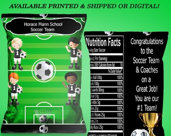 5bc6ac378703 Soccer Chip Bag - Soccer Party - Party Favor - Custom Chip Bag - Custom  Party Favor - Digital - Party Printable - Printed