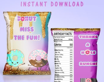 Donut Chip Bag - INSTANT DIGITAL DOWNLOAD - File Cannot Be Customized - Donut Favor Bag - Donut Theme - Donut Grow Up Theme - Digital