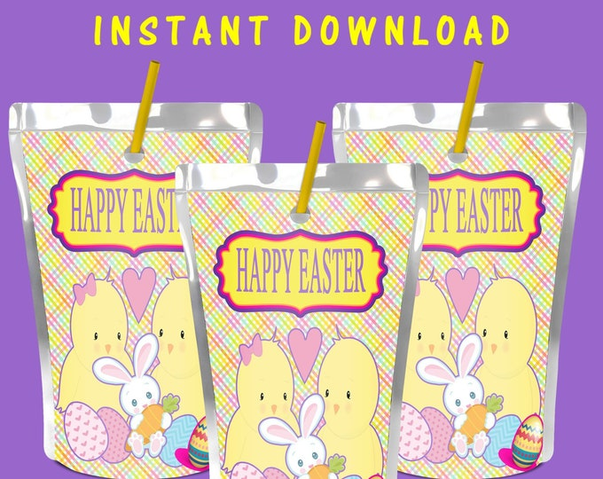 Easter Juice Pouch Label - INSTANT DIGITAL DOWNLOAD - File Not Editable - Easter Party Favor - Digital - Printed - Party Printable