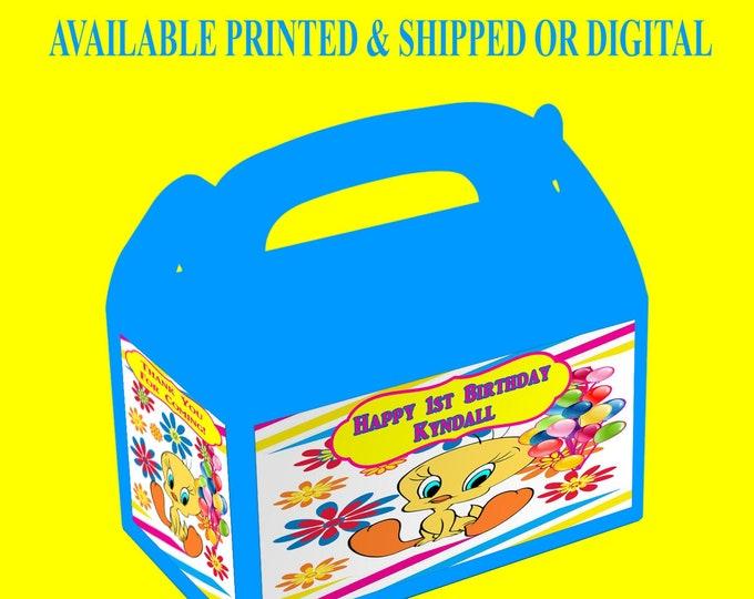 Tweety Bird Favor Box - Tweety Bird - Custom Gable Box - Tweety Bird Labels - Tweety Bird Gable Box - Printed - Printable - Digital