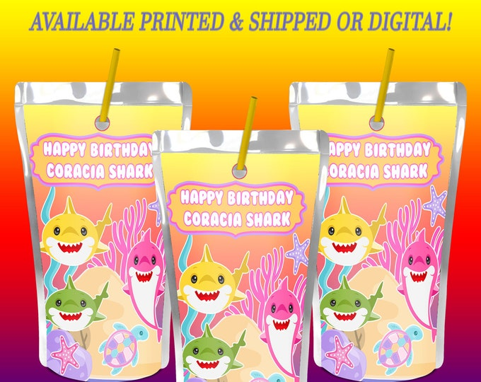 Shark Capri Sun Label - Shark - Juice Pouch Labels - Shark Labels - Baby Shark Party Favor - Digital - Printed - Party Printable