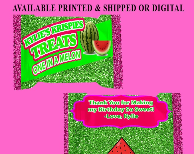 One in a Melon Rice Krispy Treat Wrapper - First Birthday Theme - Watermelon Theme - Favor Bag - Digital File - Party Printable