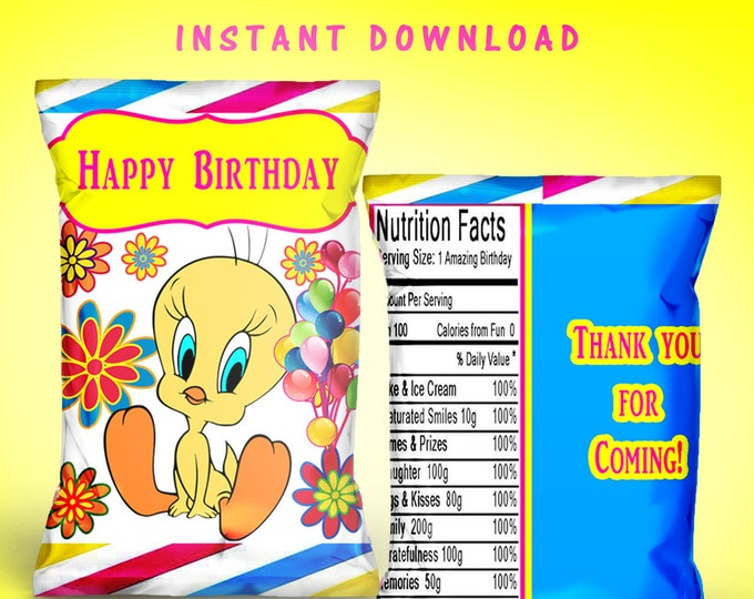 Tweety Bird Chip Bag - INSTANT DIGITAL DOWNLOAD - File Cannot Be Customized - File Not Editable - Tweety Bird - Party Favor - Digital