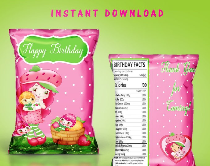 Strawberry Shortcake Chip Bag - INSTANT DIGITAL DOWNLOAD - File Cannot Be Customized - File Not Editable - Strawberry Shortcake - Digital