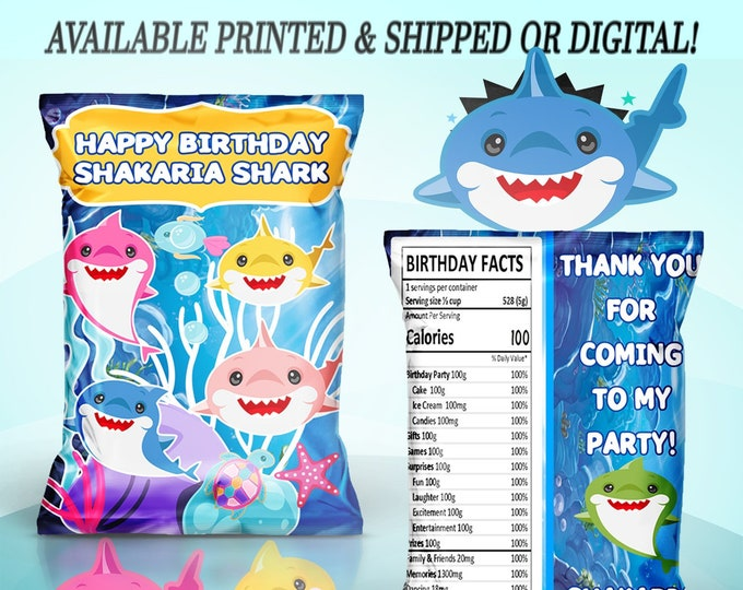 Shark Chip Bag - Shark Treat Bag - Shark Favor Bag - Chip Bag - Baby Shark Party Favors - Digital - Printed - Party Printables Baby Shark