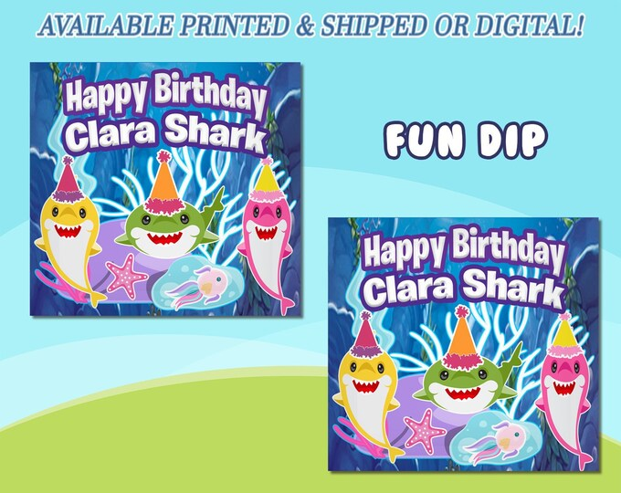 Shark Fun Dip Wrappers - Candy Wrappers - Favor Bags - Favor Wrappers - Shark Favors - Baby Shark Party Favors - Digital - Party Printables