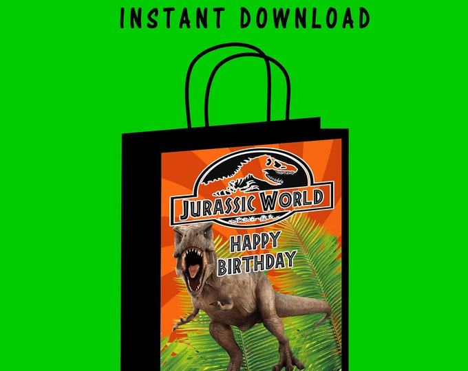 Jurassic World Gift Bag Label - INSTANT DIGITAL DOWNLOAD - File Cannot Be Customized - Jurassic Park - Gift Bag Label - Gift Bag - Digital