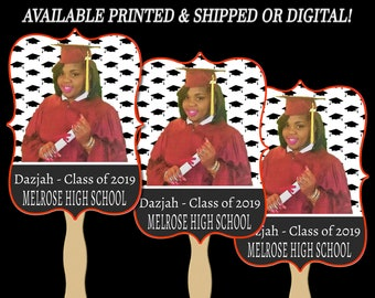 Graduation Vintage Style Fans - Double Sided Fan - Gift - Cap - Invitation - Party Favor - Graduation Party - Digital - Party Printables