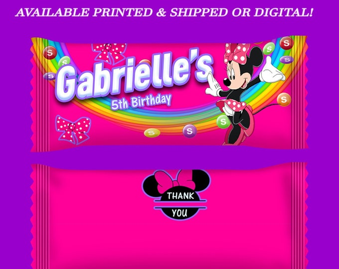 Minnie Mouse Candy Wrapper - Candy Wrappers - Pink Favor Bags - Minnie Mouse - Minnie Mouse Party - Birthday Party - Digital - Printed