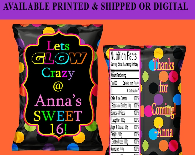 Glow Chip Bag - Glow Party Chip Bag - Glow Party - Glow Favor Bag - Glow Party Favors - Neon Chip Bag - Glow Birthday - Digital - Printed
