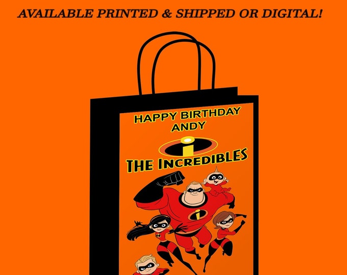 The Incredibles Gift Bag - Incredibles Labels - Party Favor - Incredibles Party - Kids Party - Digital File - Party Printable - Printed