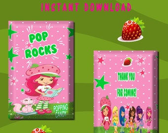 Strawberry Shortcake Candy Wrapper - INSTANT DIGITAL DOWNLOAD - File Cannot Be Customized - File Not Editable - Pop Rock Wrapper -Printables