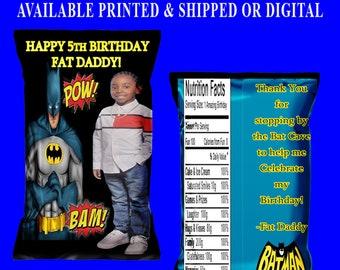 Batman Chip Bag with Photo - Batman Party Favors - Batman Party - Batman Birthday - Digital - Party Printables - Batman Chip Bags