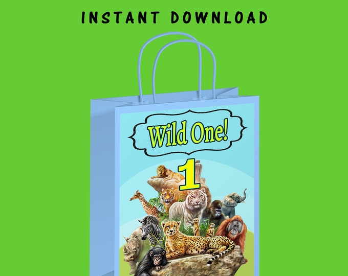 Wild One Gift Bag Label - INSTANT DIGITAL DOWNLOAD - File Cannot Be Customized - File Not Editable - First Birthday - Digital Download