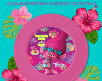 Trolls Charger Plate Insert - Custom Charger Plate Insert - Trolls Party - Party Decor - Digital - Party Printable - Printed