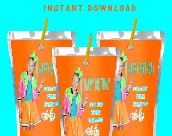 JoJo Capri Sun Labels - INSTANT DIGITAL DOWNLOAD - File Cannot Be Customized - File Not Editable - JoJo Party - Party Favor - Digital File