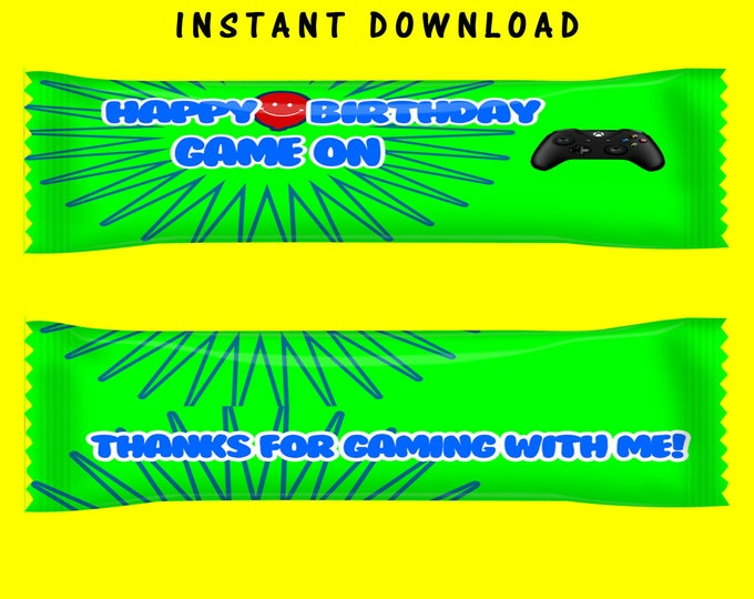 Video Gamer Airhead Wrapper - INSTANT DIGITAL DOWNLOAD - File Cannot Be Customized - File Not Editable- Game On - Digital - Party Printable