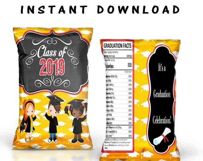 Kids Graduation Chip Bag - INSTANT DIGITAL DOWNLOAD - File Cannot Be Customized - File Not Editable - Favor Bag - Graduation - Digital