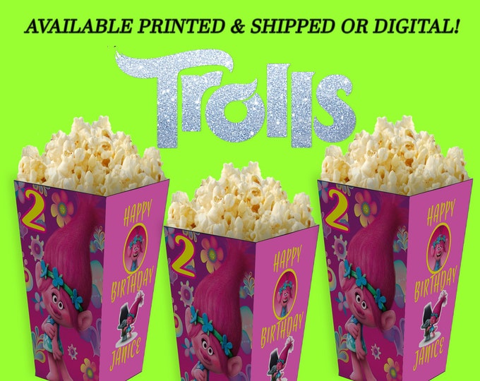 Trolls Popcorn Box - Popcorn Box - Party Favors - Trolls Party Favor - Trolls Popcorn Box - Digital - Party Printables - Printed
