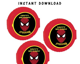 Spiderman Bubble Gum Tape Label - INSTANT DIGITAL DOWNLOAD - File Cannot Be Customized - Bubble Gum Tape - Party Printables - Digital