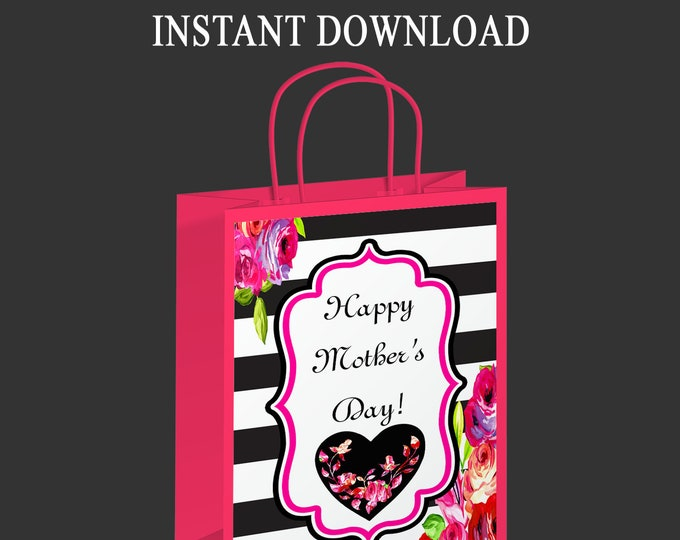 Mother's Day Gift Bag Label - INSTANT DIGITAL DOWNLOAD - File Not Editable - Party Favor - Digital FIle - Printed - Party Printable