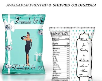 bd990acf1f Tiffany and Co Chip Bag - Birthday Chip Bag - Tiffany and Company - Party  Favor - Digital - Printed - Party Printables