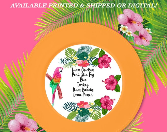 Tropical Menu Charger Insert - Custom Menu - Digital - Printed - Party Printable