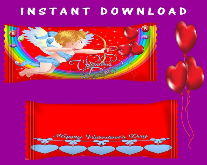 Valentine Day Candy Wrapper - INSTANT DIGITAL DOWNLOAD - File Not Editable - Skittles Wrapper - Party Printables - Class Printables