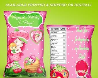 Strawberry Shortcake Chip Bag - Favor Bag - Party Favors - Strawberry Shortcake Party - Chip Bags - Favor Boxes - Digital - Party Printable