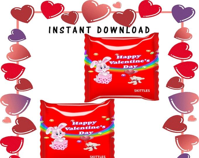 Valentine Day Skittles Wrapper - INSTANT DIGITAL DOWNLOAD- File Not Editable- Valentines Chip Bag - Party Printables- Digital