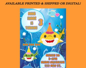 Shark Invitation - Shark Invitation - Shark Party for Kids - Shark Party - Baby Shark Party Favors - Digital - Party Printable