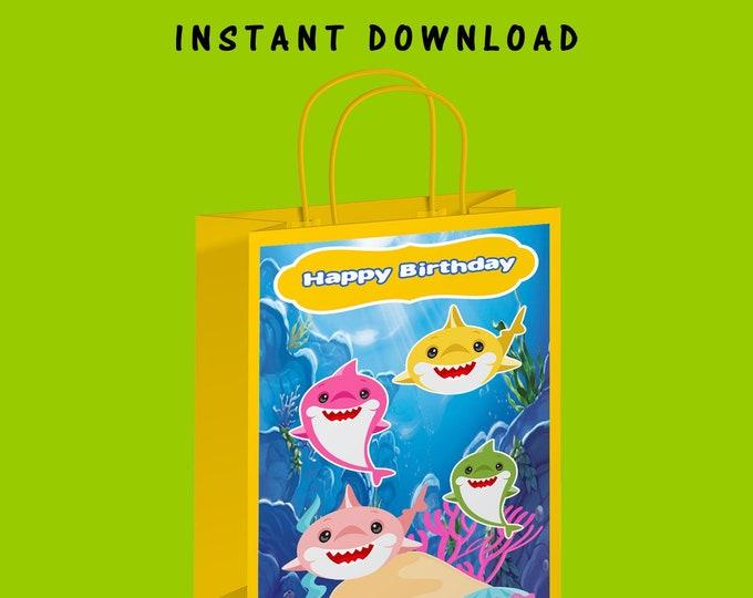 Shark Gift Bag Label - INSTANT DIGITAL DOWNLAD - File Not Editable - Shark Party - Baby Shark Party Favor - Digital - Party Printable