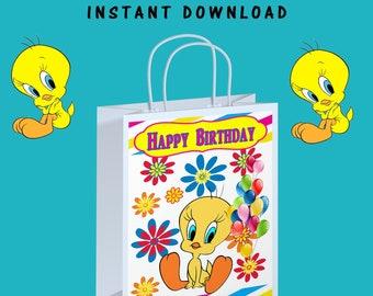 Tweety Bird Gift Bag Label - INSTANT DIGITAL DOWNLOAD - File Cannot Be Customized - Tweety Bird - Gift Bag - Digital - Party Printable