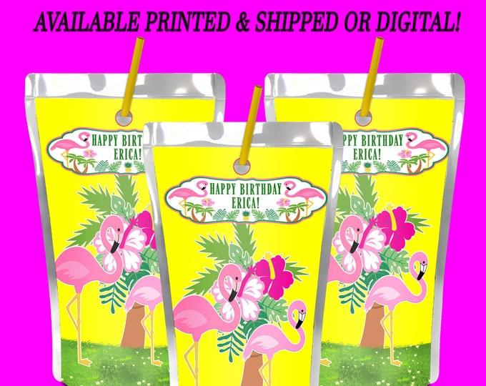 Flamingo Capri Sun Label - Tropical Juice Pouch Label - Juice Pouch Label - Flamingo Party - Tropical Party - Digital File - Party Printable