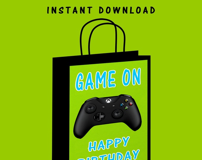 Video Gamer Gift Bag Label - INSTANT DIGITAL DOWNLOAD - File Cannot Be Customized - File Not Editable - Game On - Digital - Party Printable