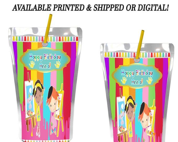 Paint Party Capri Sun Label - Paint Party - Juice Pouch Label - Paint Theme - Digital - Printed - Party Printables