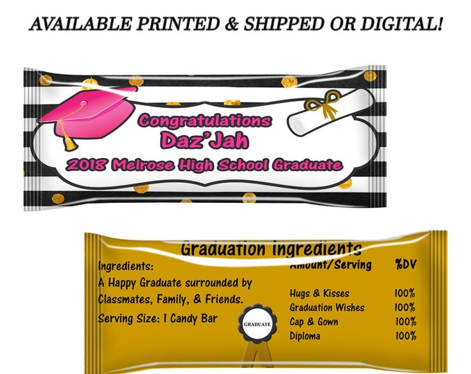 Graduation Candy Wrapper - Graduation Party - Party Favors - Candy Favors - Digital - Party Printables