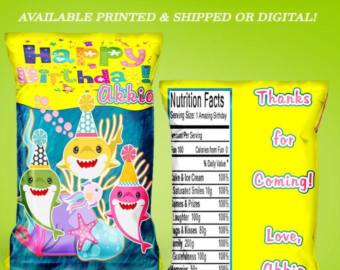 Shark Chip Bag - Shark Treat Bag - Shark Favor Bag - Chip Bag - Baby Shark Party Favors - Digital - Printed - Party Printable