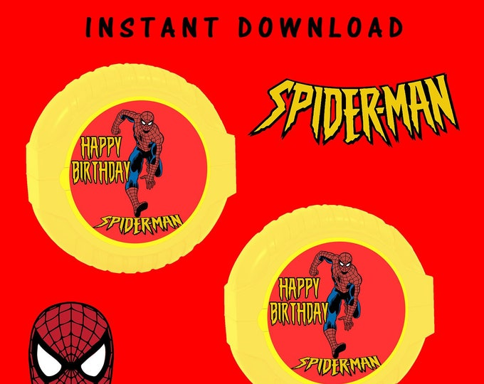 Spiderman Bubble Gum Tape Label - INSTANT DIGITAL DOWNLOAD - File Cannot Be Customized - File Not Editable - Spiderman - Digital