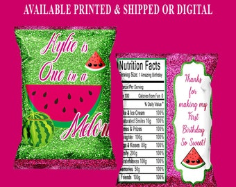 One in a Melon Chip Bag - First Birthday Theme - Watermelon Theme - First Birthday Favor Bag -  Digital - Party Printable - Printed