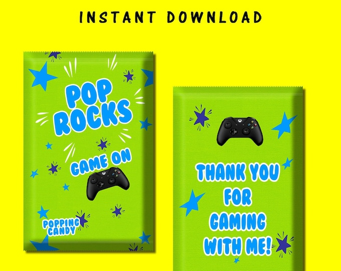 Video Gamer Pop Rock Wrapper - INSTANT DIGITAL DOWNLOAD - File Cannot Be Customized - Pop Rock - Video Game - Party Favor - Party Printable